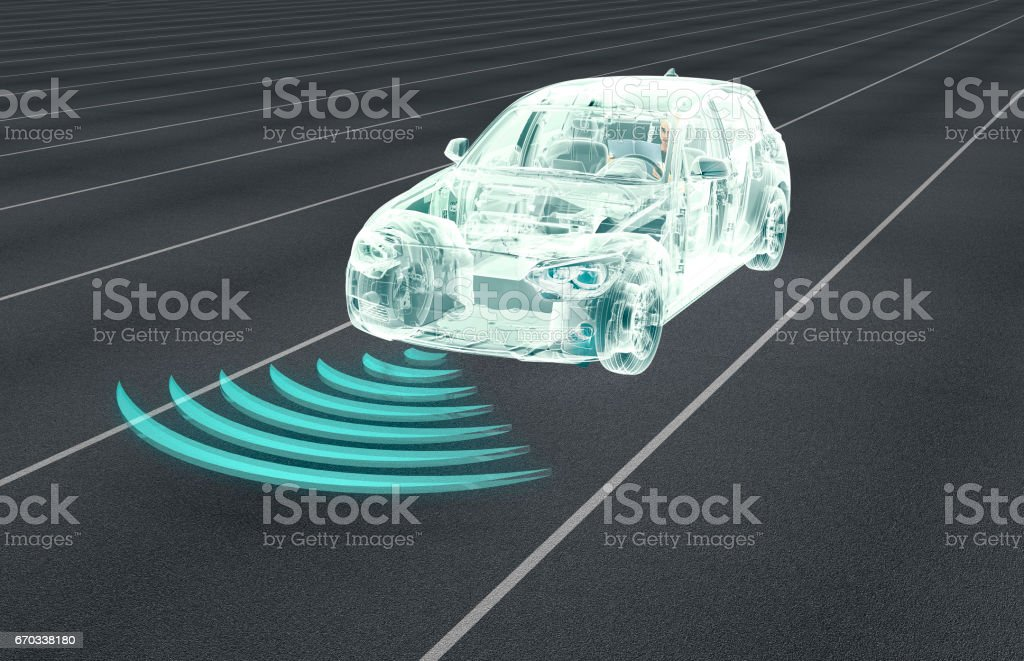 self driving electronic computer cars on road vector art illustration