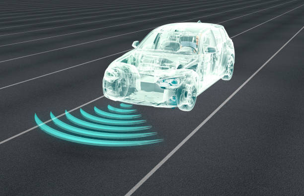 self driving electronic computer cars on road - self driving cars stock illustrations, clip art, cartoons, & icons