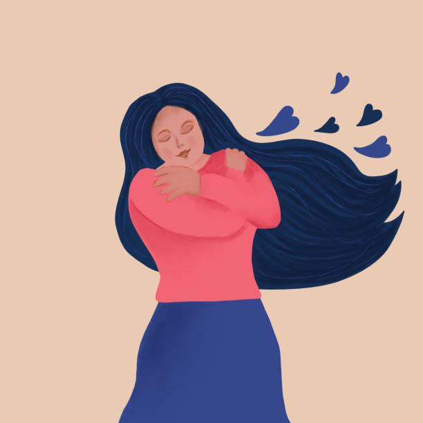 Self Hug - woman embracing herself vector art illustration
