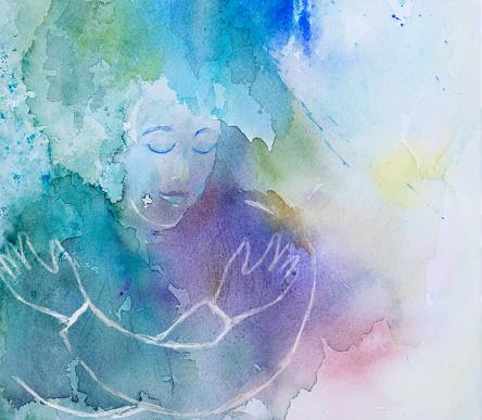 Self Hug - woman embracing herself - watercolor painting
