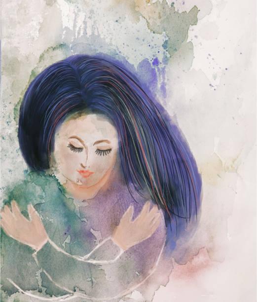 Self Hug - woman embracing herself - watercolor painting vector art illustration