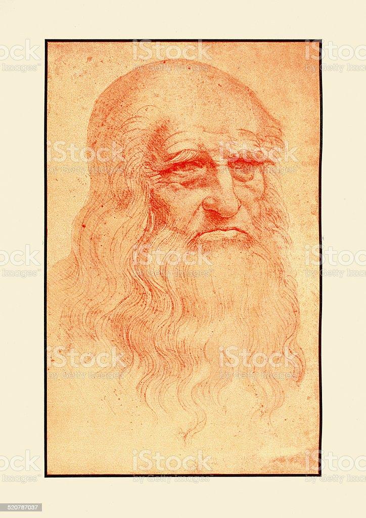 Self Portrait of Leonardo Da Vinci vector art illustration