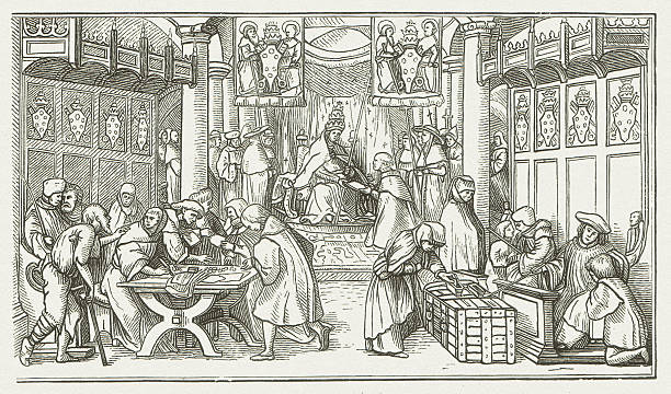 Selling of Indulgences, wood engraving by Hans Holbein, published 1881 vector art illustration