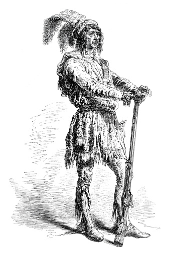 The Seminole are a Native American people originally from Florida. Osceola ( 1804 January 30, 1838, Asi-yahola in Creek ), named Billy Powell at birth in Alabama, became an influential leader of the Seminole people in Florida. Original edition from my own archive Source : Tour du monde 1870 Drawing : A. de Neuville after M. Poussielgue