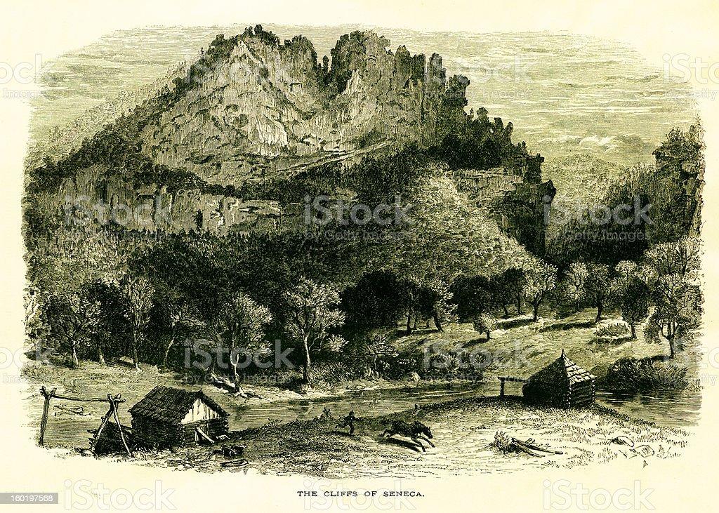 Seneca Rocks, West Virginia royalty-free stock vector art