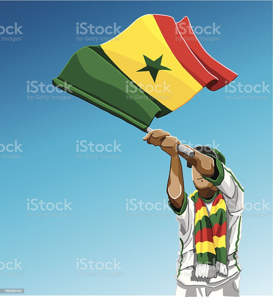 Senegal Waving Flag Soccer Fan royalty-free stock vector art