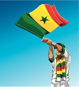 Senegal Waving Flag Soccer Fan