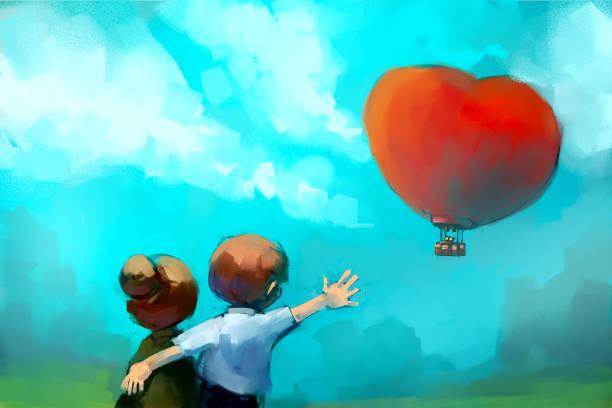 bildbanksillustrationer, clip art samt tecknat material och ikoner med äldre par tittar på röd hjärtformad ballong - aktiva pensionärer utflykt
