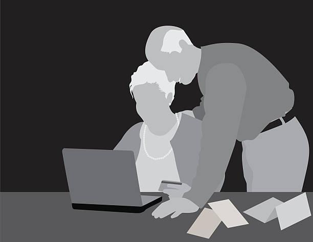 ilustrações de stock, clip art, desenhos animados e ícones de par sênior no computador - bills couple