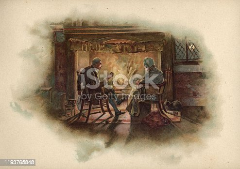 Vintage colour engraving of Victorian senior couple sat by a warm fire on a cold winter evening, 19th Century