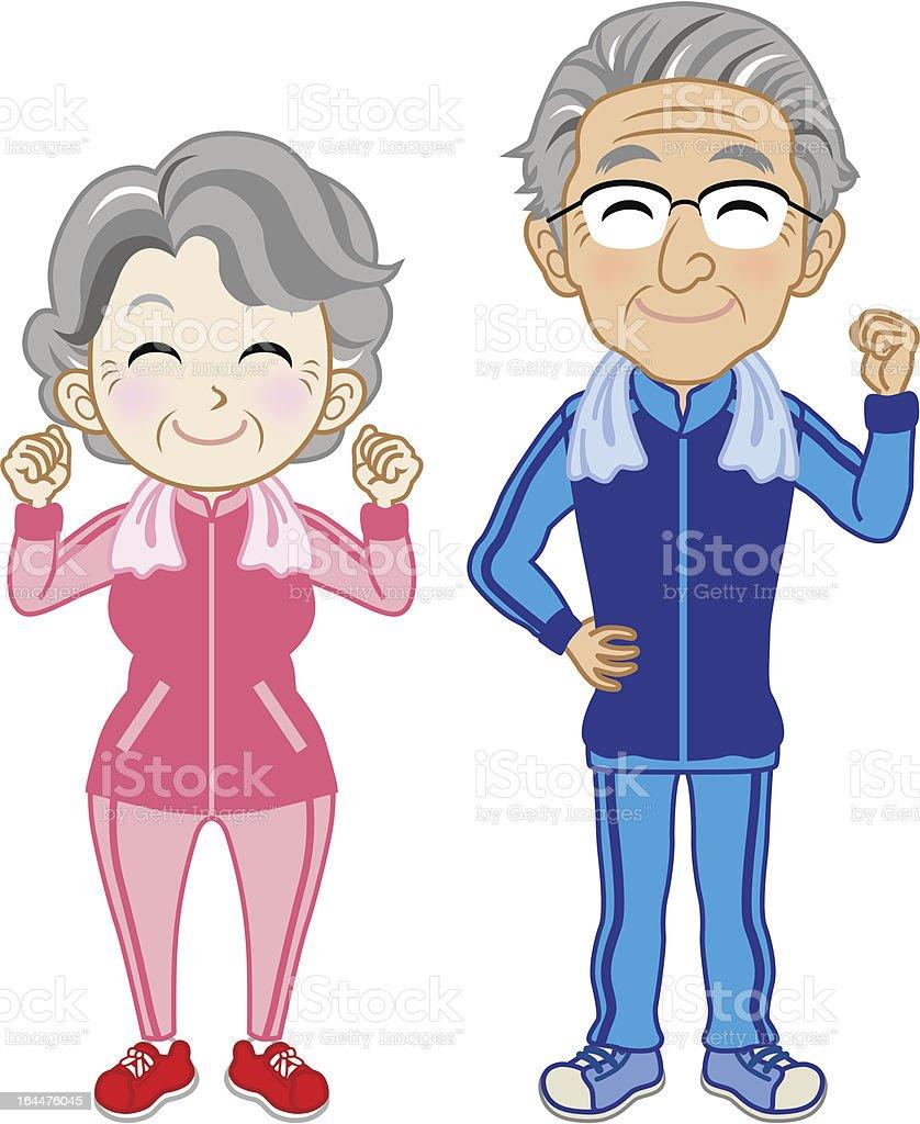 Senior Couple wearing Sportswear royalty-free stock vector art