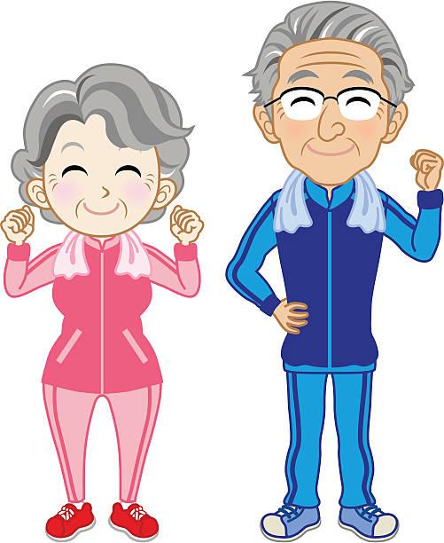年配のカップルのスポーツウェアを着て - スポーツ医学点のイラスト素材/クリップアート素材/マンガ素材/アイコン素材