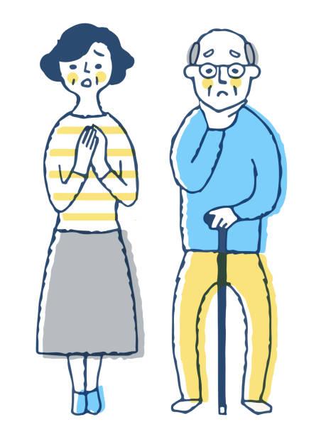 ilustrações de stock, clip art, desenhos animados e ícones de senior couple with worried expression - mão no peito