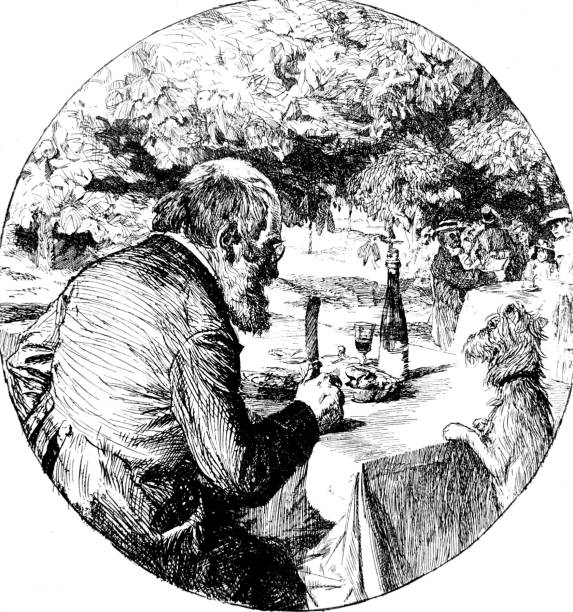 senior man eating at table outdoor, dog standing on table - old man standing drawings stock illustrations, clip art, cartoons, & icons