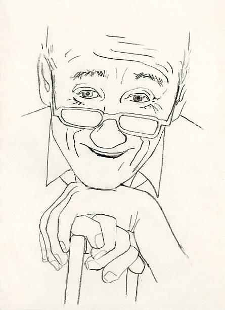 senior man smiling - old man portrait drawing stock illustrations, clip art, cartoons, & icons