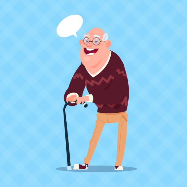 senior man with chat bubble walking with stick modern grandfather full length - old man smiling backgrounds stock illustrations, clip art, cartoons, & icons