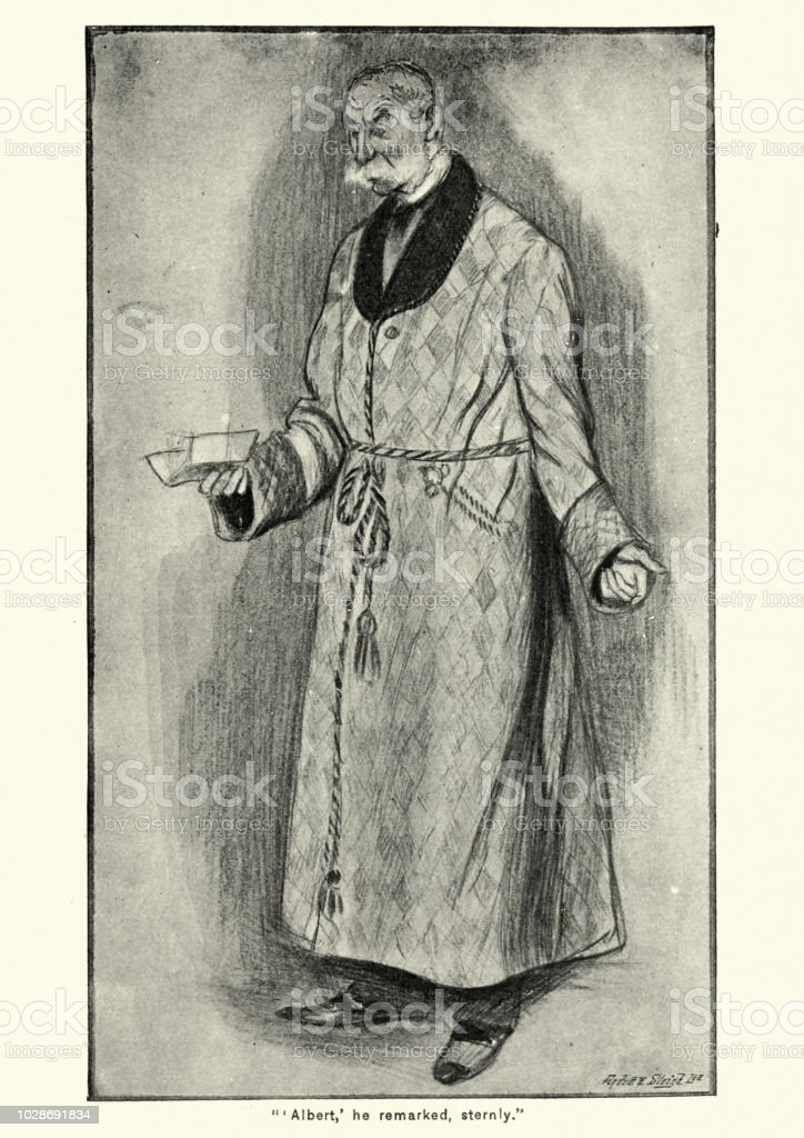 Senior Victorian Man In His Dressing Gown 1890s Stock Vector Art ...