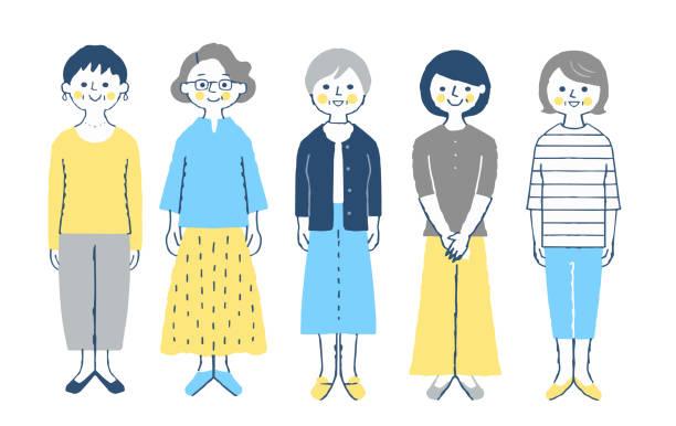 前に立つ5人の先輩女性 - 主婦 日本人点のイラスト素材/クリップアート素材/マンガ素材/アイコン素材