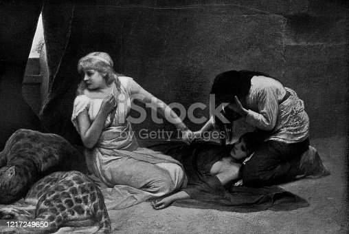 Sentenced by Gabriel von Max (circa 19th century). Vintage etching circa late 19th century. Christians would be put in cages with sleeping wild cats in Ancient Rome. Having then to see them, knowing when the cats awoke they would be eaten alive.