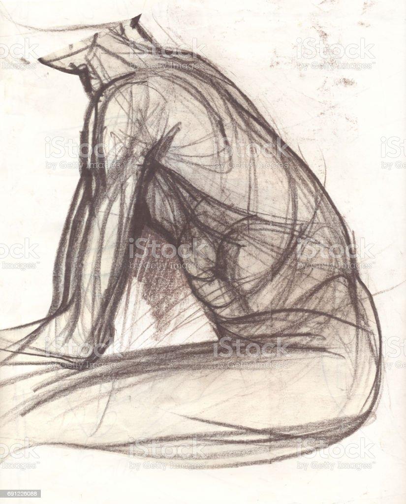 Ilustración de Bosquejo De Tono Sepia De Un Hombre y más banco de ...