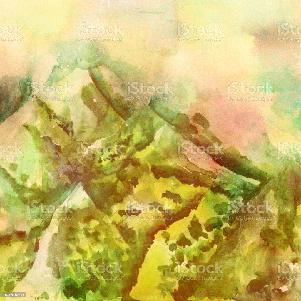 霧の深い山々 の景色のセピア色のトーンビンテージ スタイル水彩風景画