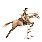 Horseman at jumping competition. England equestrian sport. Hand drawing illustration.