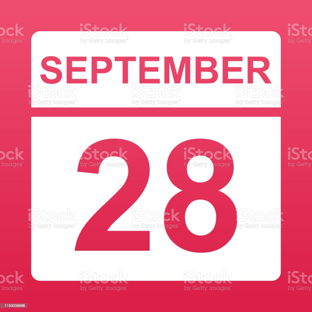 September 28. White calendar on a colored background. Day on the...