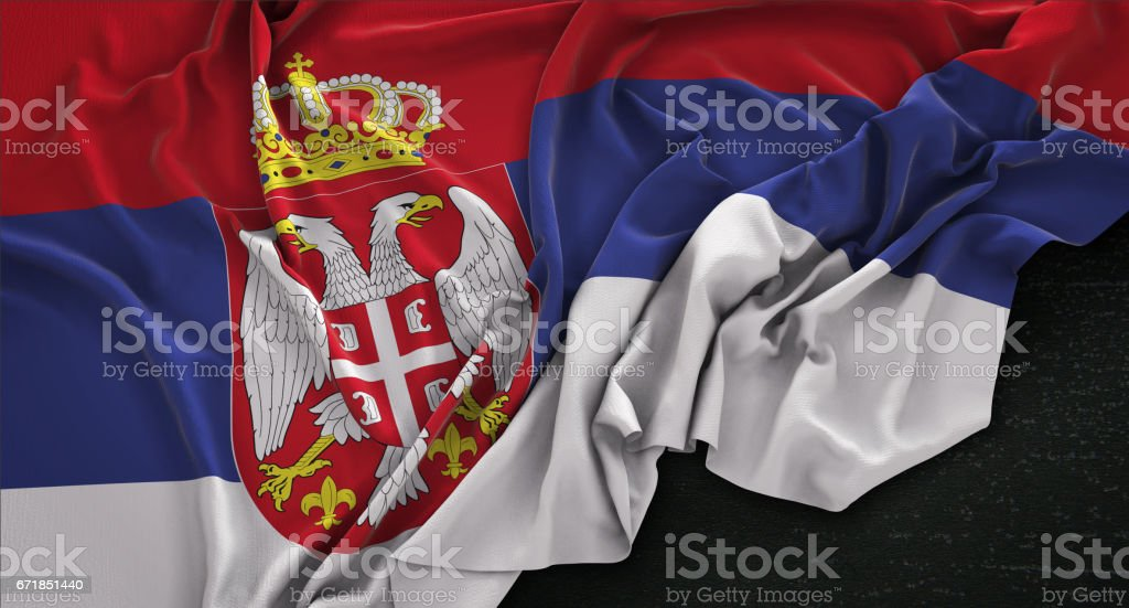Serbia Flag Wrinkled On Dark Background 3D Render vector art illustration
