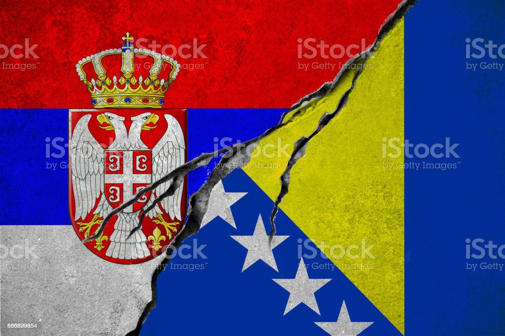Serbian And Bosnia And Herzegovina Flag Conflict Concept Stock
