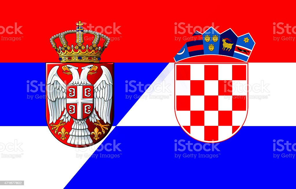 Serbian And Croatian Flag Stock Vector Art More Images Of 2015