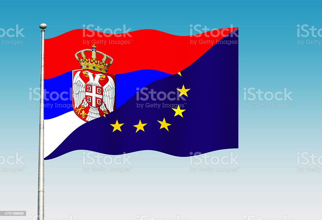 Serbian And European Union Flag Stock Vector Art More Images Of