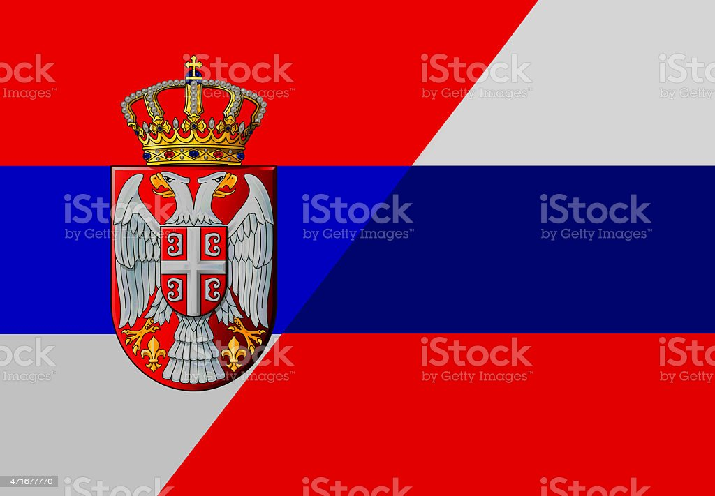 Serbian And Russian Flag Stock Vector Art More Images Of 2015