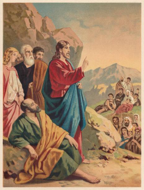 ilustrações de stock, clip art, desenhos animados e ícones de sermon on the mount (matthew 5-7), chromolithograph, published 1886 - jesus cristo