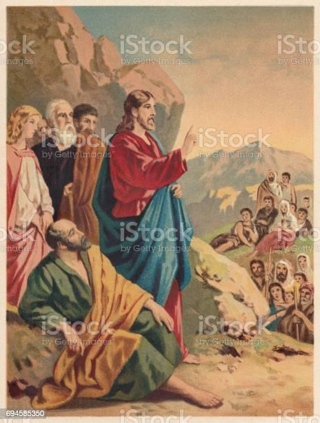 Sermon On The Mount Chromolithograph Published 1886 - Arte vetorial de stock e mais imagens de Adulto