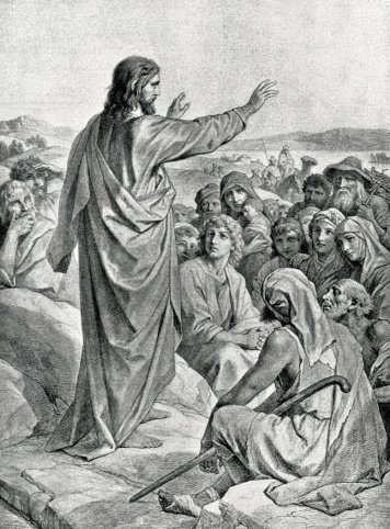 Image from 1892 showing Jesus giving the sermon on the mount from the Biblical story.
