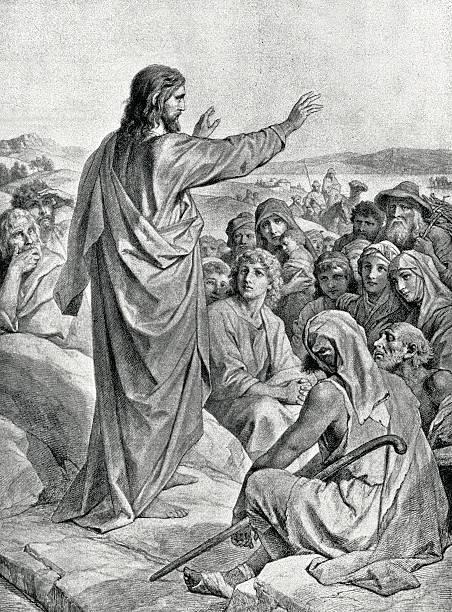 ilustrações de stock, clip art, desenhos animados e ícones de sermon no monte - jesus cristo