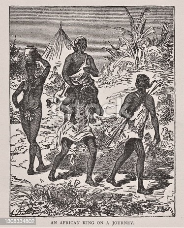 A servant carries an African King as he goes on a journey. A woman carries a pot on her head in the 1870 Africa. Illustration published 1891. Source: Original edition is from my own archives. Copyright has expired and is in Public Domain.