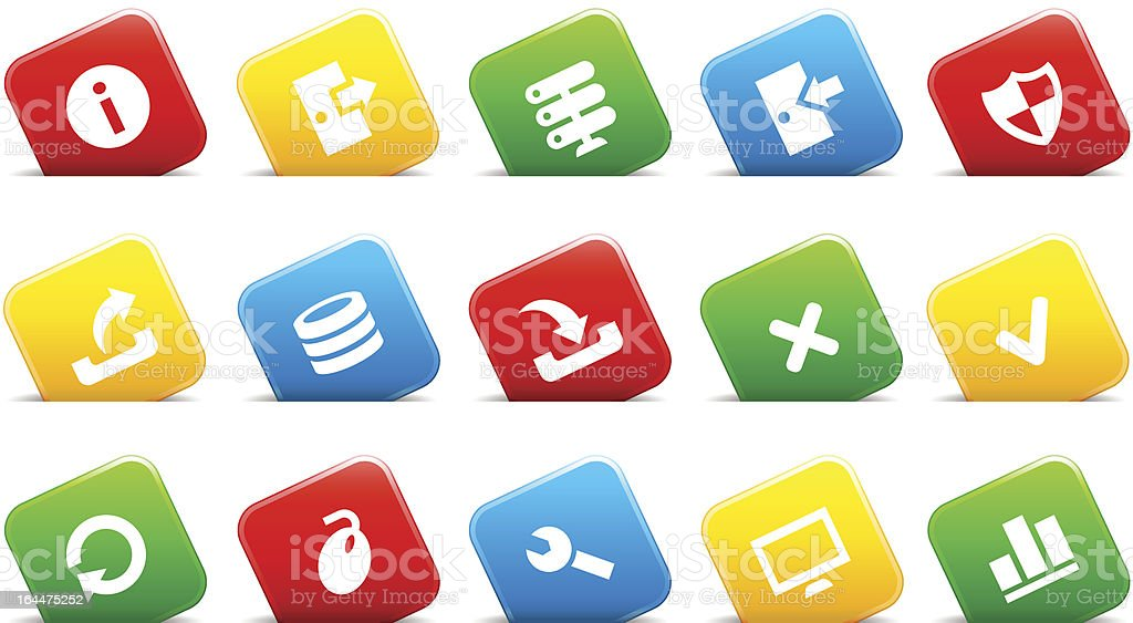 Server icons on buttons in cut royalty-free stock vector art