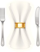 """Vector illustration of serviette, fork and table knife."""