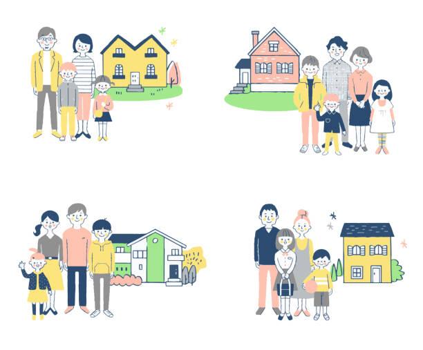 家の前に立つ4セット3世代家族 - 家族 日本点のイラスト素材/クリップアート素材/マンガ素材/アイコン素材