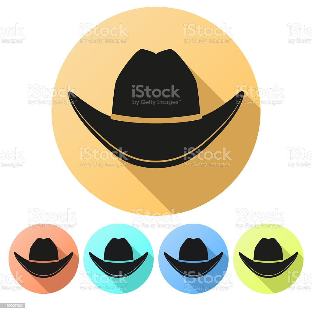 Set Flat icons of Black cowboy hat vector art illustration