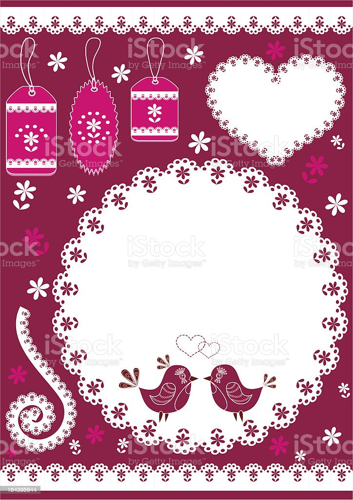 Set for scrapbook with doily. royalty-free set for scrapbook with doily stock vector art & more images of art and craft