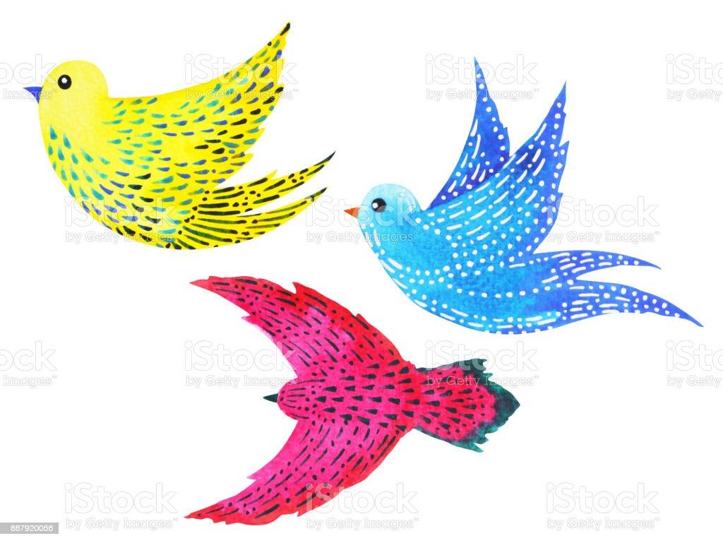 özgür Kuşlar Desen En Az Suluboya Resim Elle çizilmiş Tasarlamak