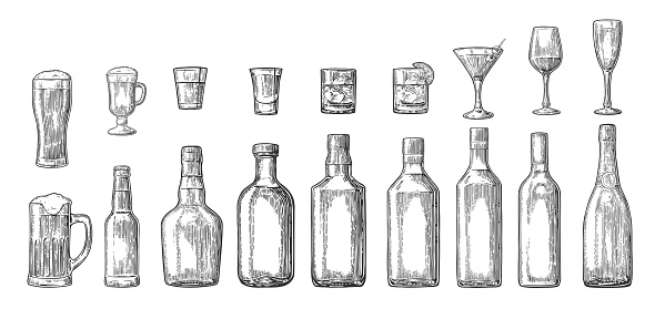 Set glass and bottle beer, whiskey, wine, gin, rum, tequila, champagne, cocktail