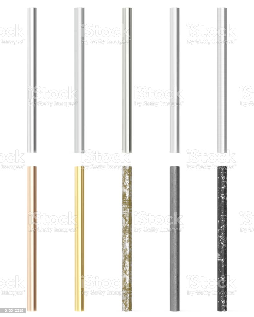 Set, group, collection metal pipes isolated on white background. 3d vector art illustration