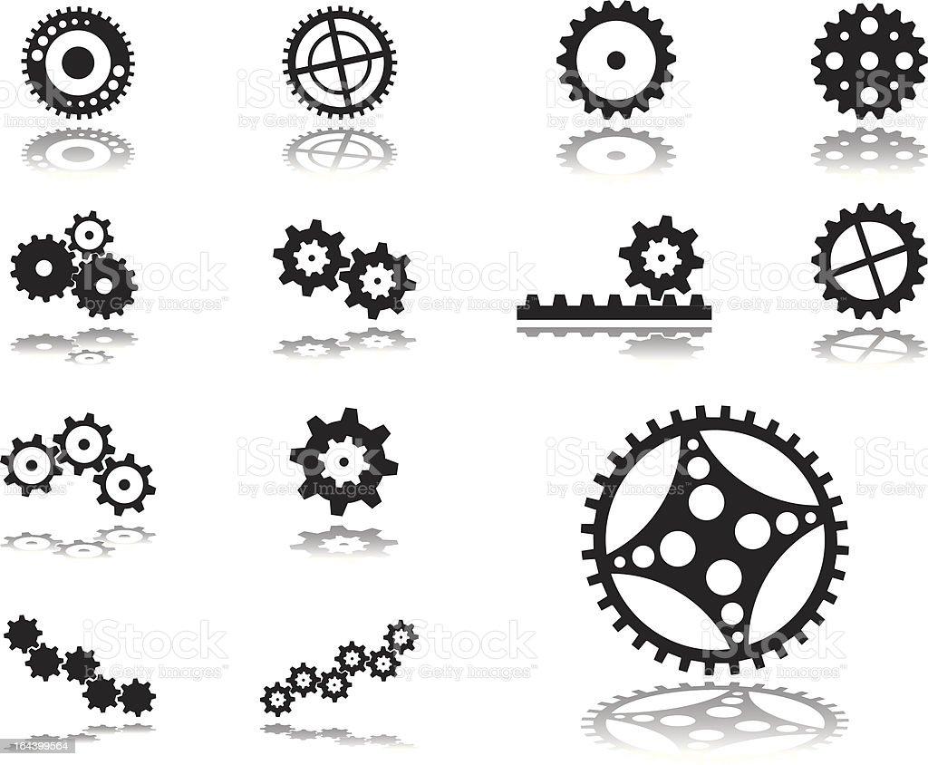 Set icons. Gears. vector art illustration