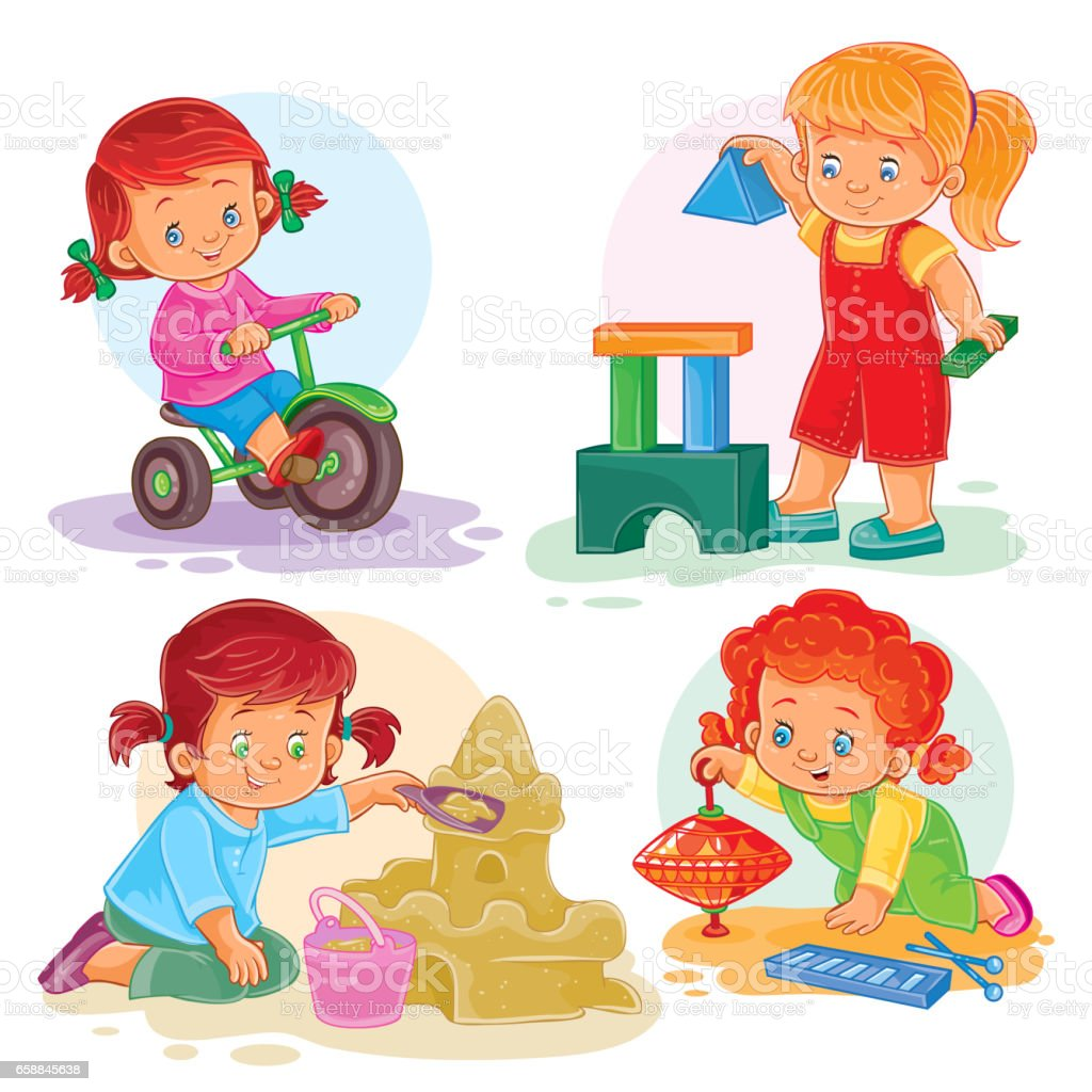 Set icons small girls playing with toys vector art illustration