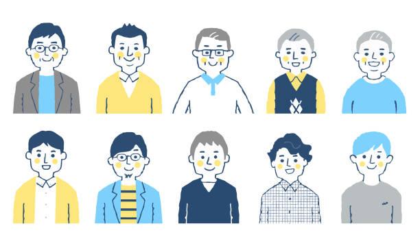ilustrações de stock, clip art, desenhos animados e ícones de set of 10 men of various ages - da cintura para cima