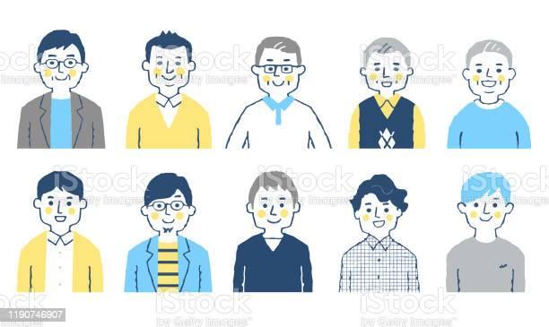 Set Of 10 Men Of Various Ages - Arte vetorial de stock e mais imagens de Adulto