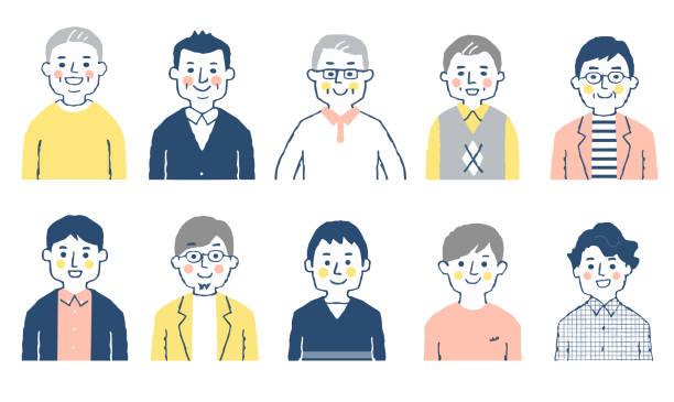 様々な年齢の10人の男性のセット - 家族 日本人点のイラスト素材/クリップアート素材/マンガ素材/アイコン素材